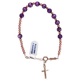 Bracciale croce argento 925 rosé e decina ametista s2