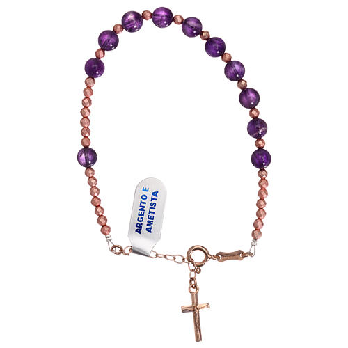Bracciale croce argento 925 rosé e decina ametista 2