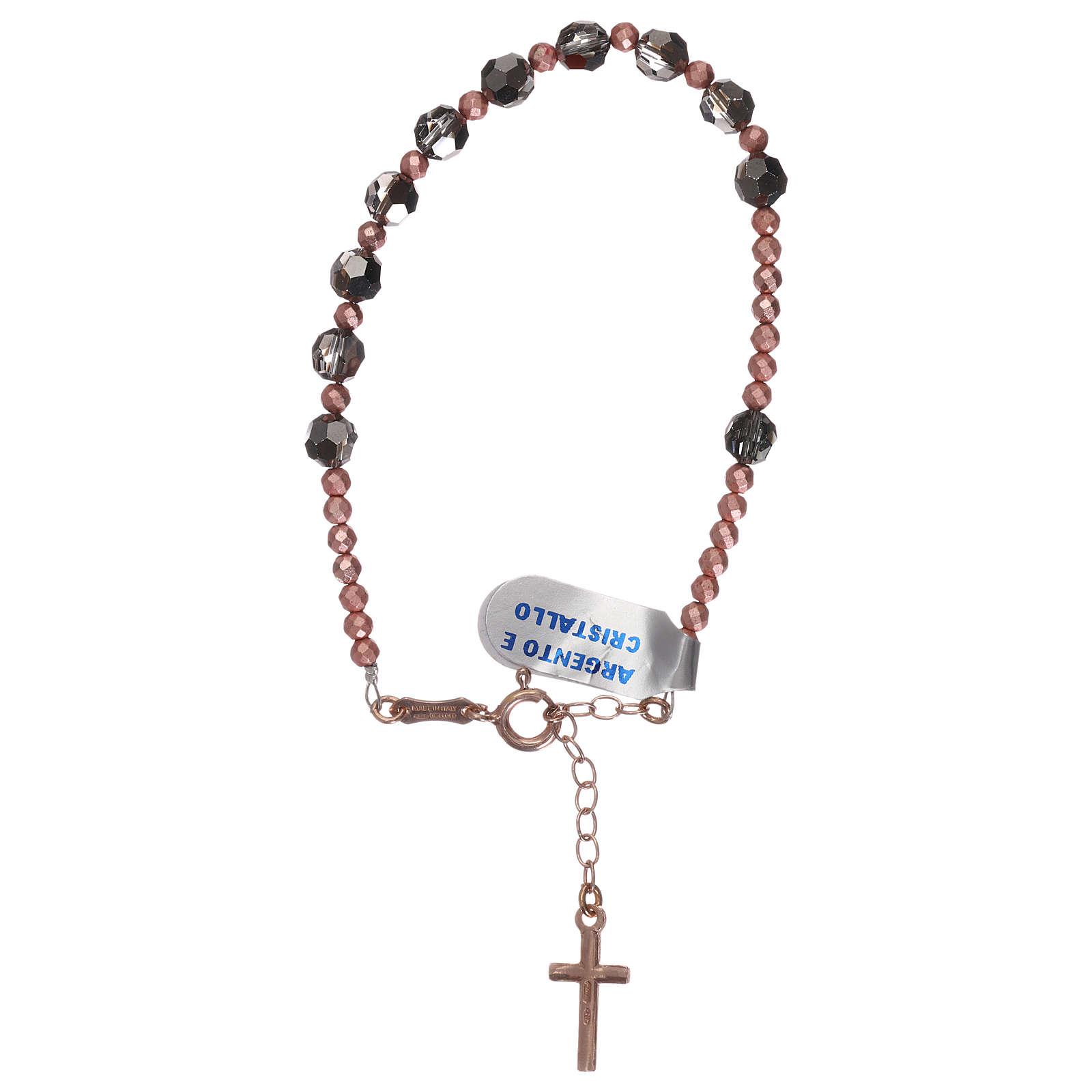 Bracciale croce argento 925 rosé e decina Swarovski grigi 4
