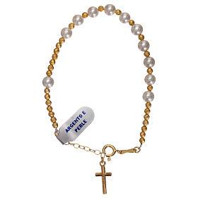 Bracciale decina argento 925 dorato e perle s2
