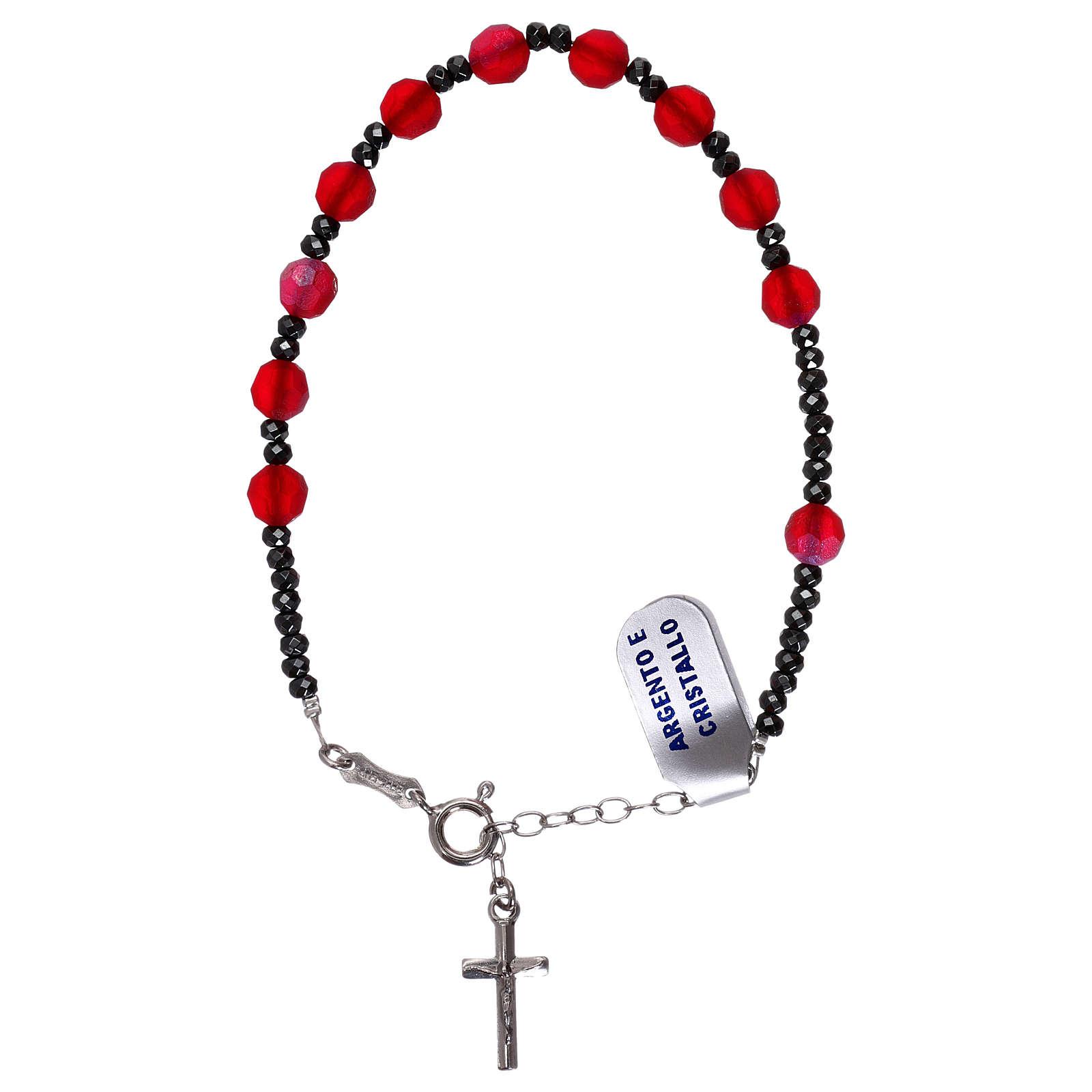 Bracciale decina croce argento 925 e grani cristallo satinato rosso 4