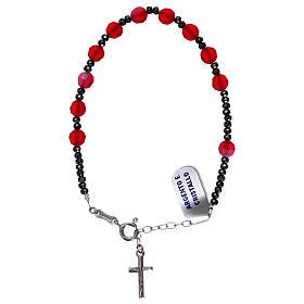 Bracciale decina croce argento 925 e grani cristallo satinato rosso s1