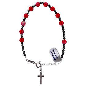 Bracciale decina croce argento 925 e grani cristallo satinato rosso s2