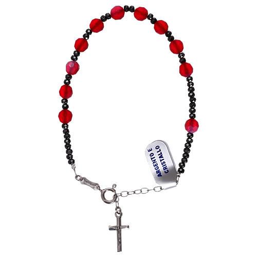 Bracciale decina croce argento 925 e grani cristallo satinato rosso 1