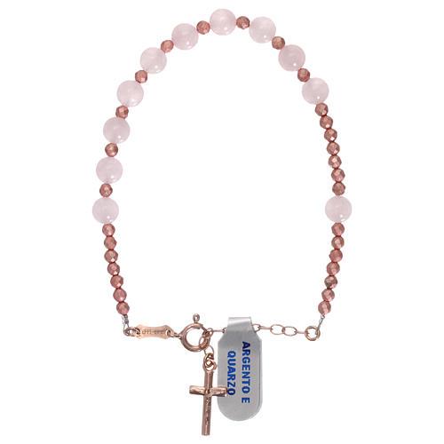 Bracciale decina quarzo rosa e croce rosé 1