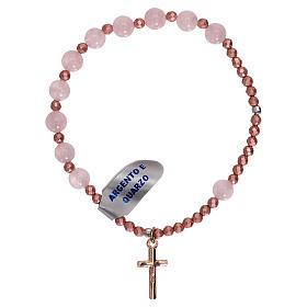 Bracciale ad elastico decina quarzo rosa e croce rosé s2