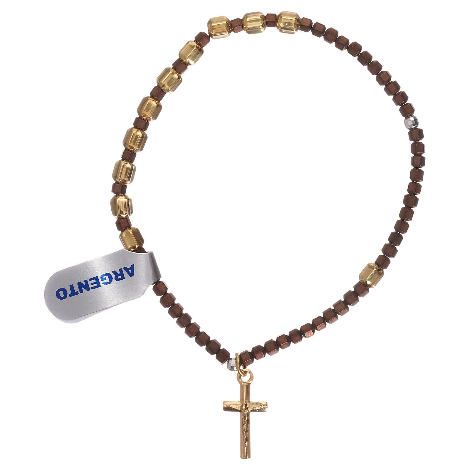 Bracciale rosario argento 925 dorato ematite marrone 4