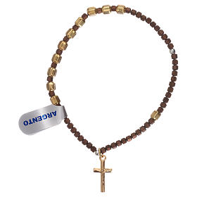 Bracciale rosario argento 925 dorato ematite marrone s1