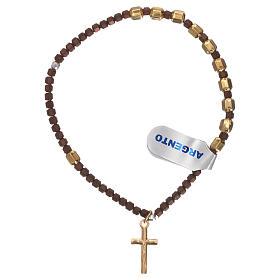 Bracciale rosario argento 925 dorato ematite marrone s2