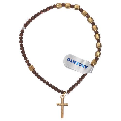 Bracciale rosario argento 925 dorato ematite marrone 2