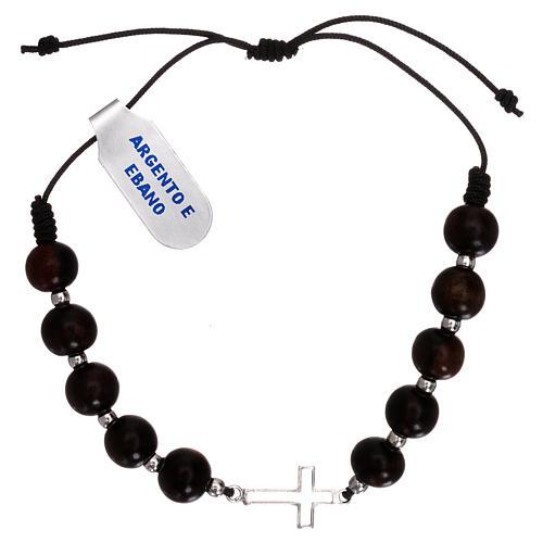 Bracciale corda marrone con croce traforata argento 925 e grani ebano 1