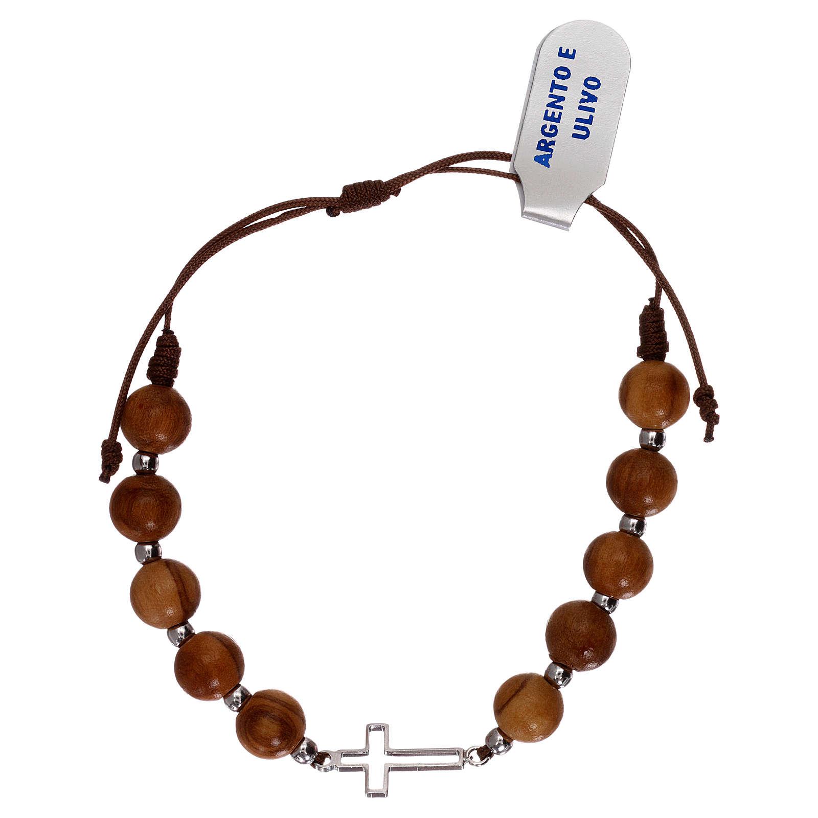 Bracciale corda croce traforata argento 925 e grani ulivo 4