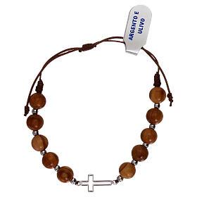 Bracciale corda croce traforata argento 925 e grani ulivo s2