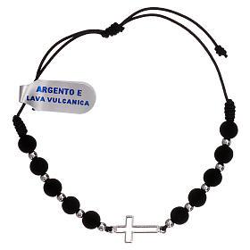 Bracelet corde croix ajourée argent 925 et grains lave volcanique s1