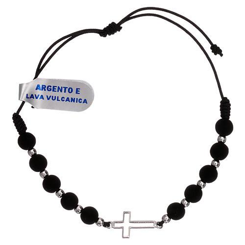 Bracelet corde croix ajourée argent 925 et grains lave volcanique 1