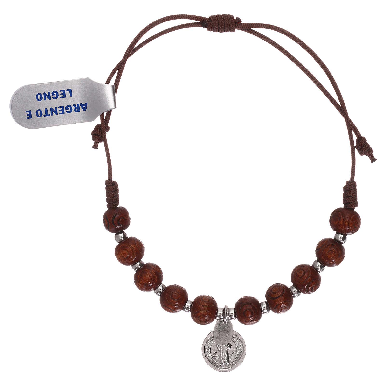 Bracciale rosario in legno nero intagliato con medaglietta 4
