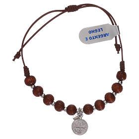 Bracciale rosario in legno nero intagliato con medaglietta s2