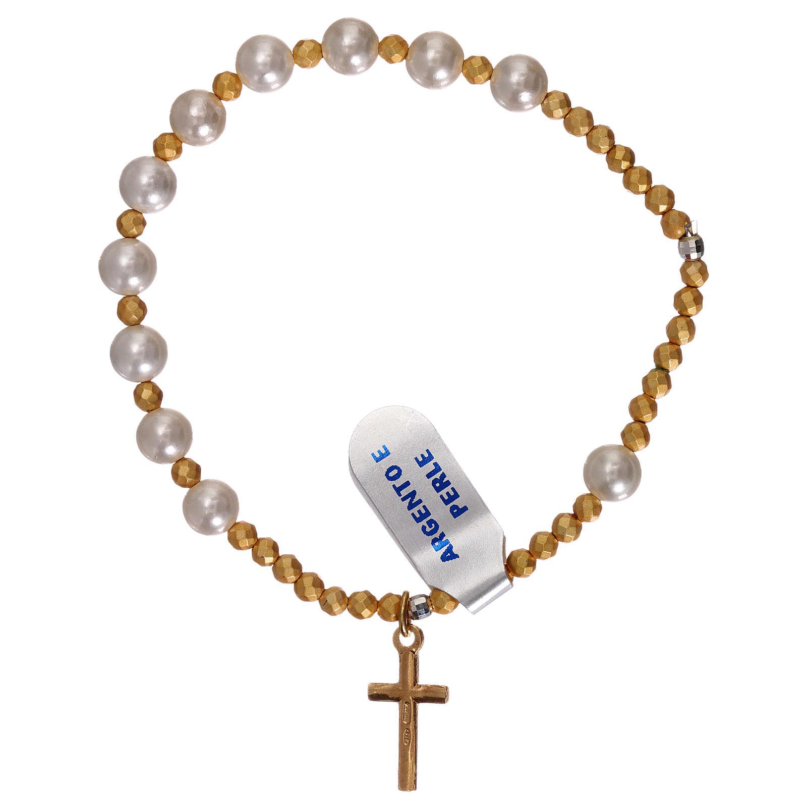 Bracciale decina perle e croce argento 925 dorato 4