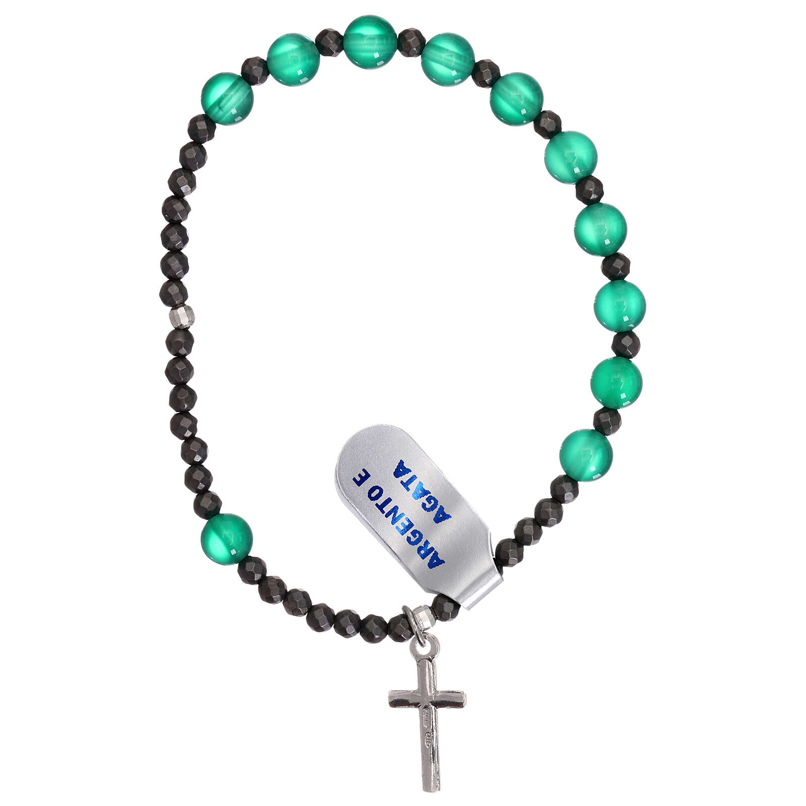 Elasticized single decade rosary bracelet, 925 silver cross green agate beads 4