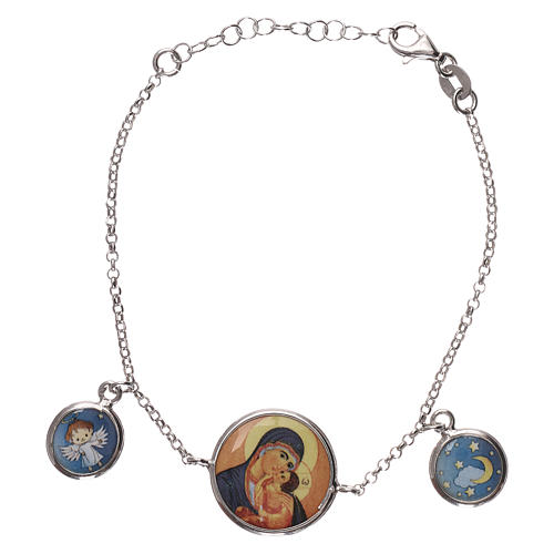 Braccialetto argento 925 con tre medaglie 1
