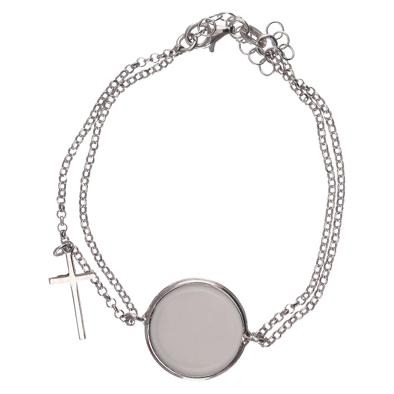 Braccialetto argento 925 catena doppia con medaglia 4