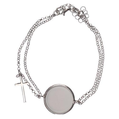 Braccialetto argento 925 catena doppia con medaglia 2