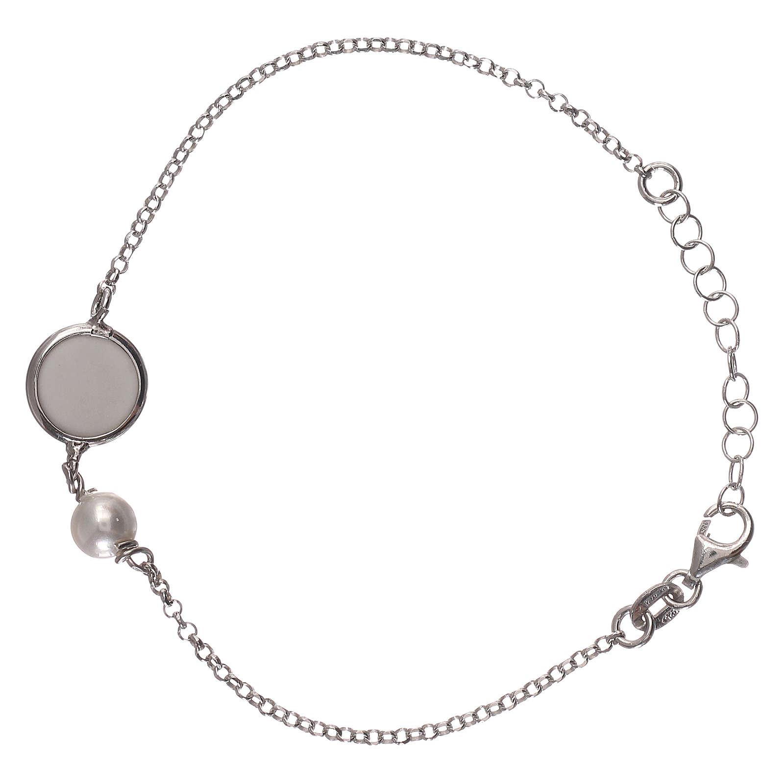Braccialetto argento 925 con medaglia e perla 4