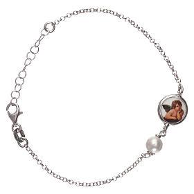 Braccialetto argento 925 con medaglia e perla s1