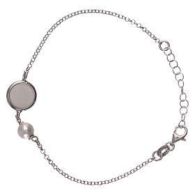 Braccialetto argento 925 con medaglia e perla s2