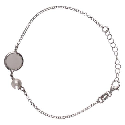 Braccialetto argento 925 con medaglia e perla 2