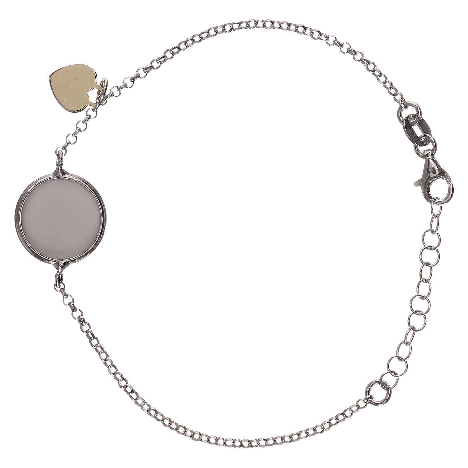 Braccialetto argento 925 medaglia e cuoricino 4