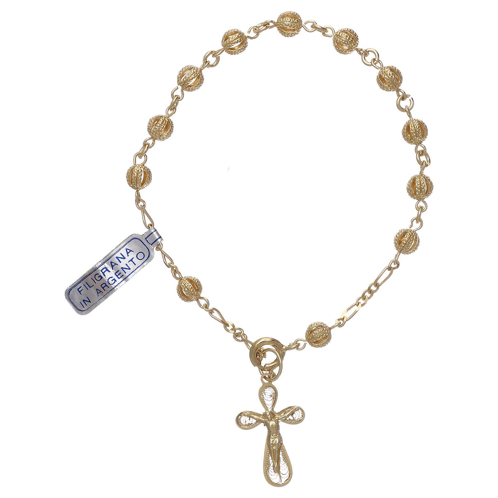 Decade rosary bracelet in filigree golden sterling silver 4