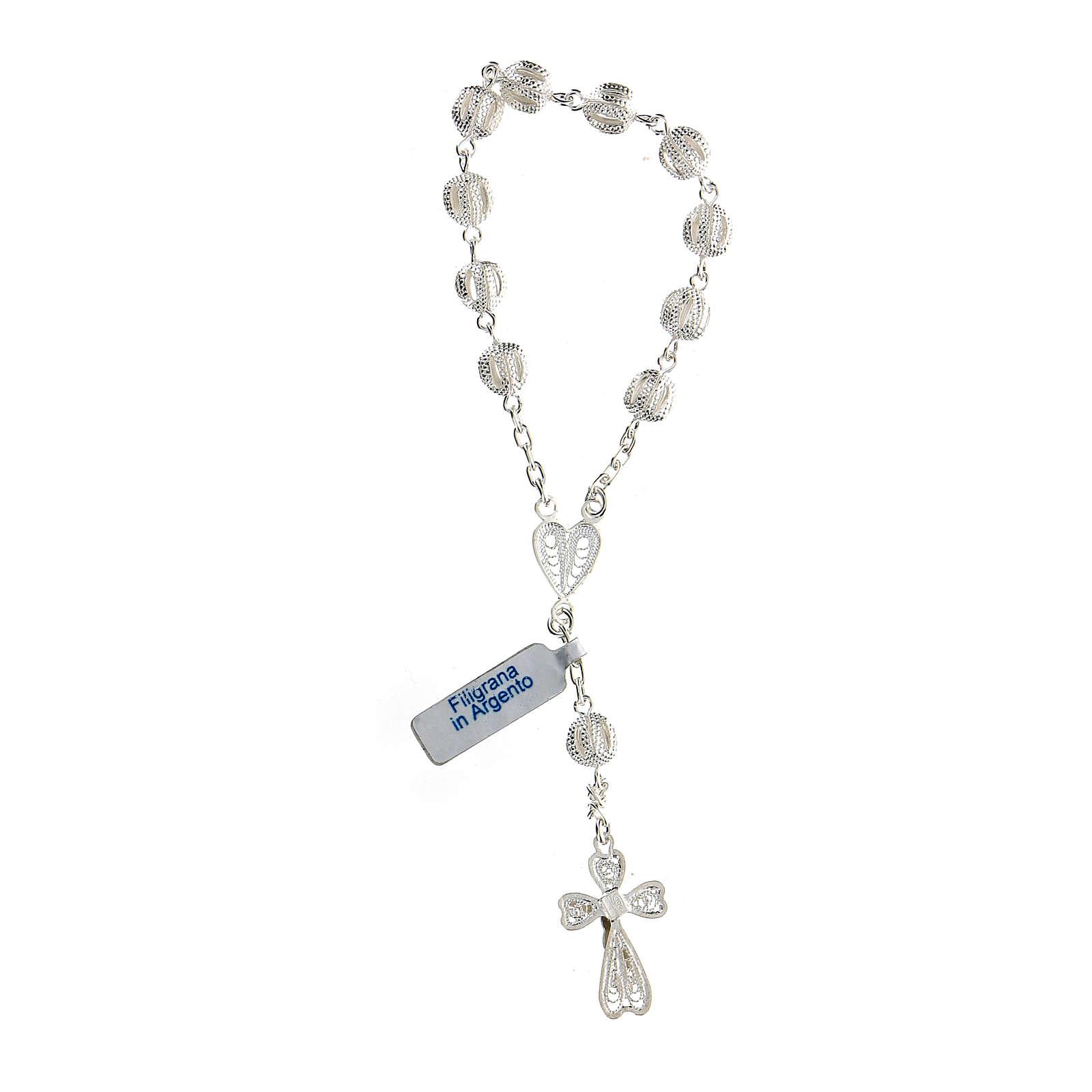 Bracciale decina filigrana in argento con cuore 4