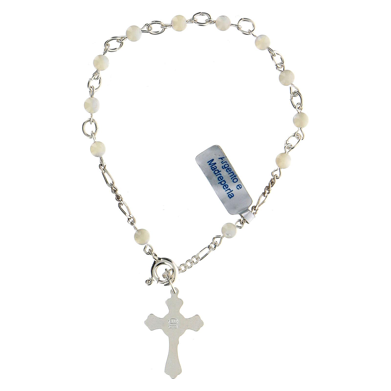 Pulsera rosario decena de plata y nácar 4