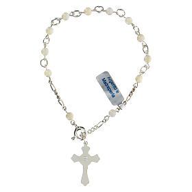 Pulsera rosario decena de plata y nácar s2