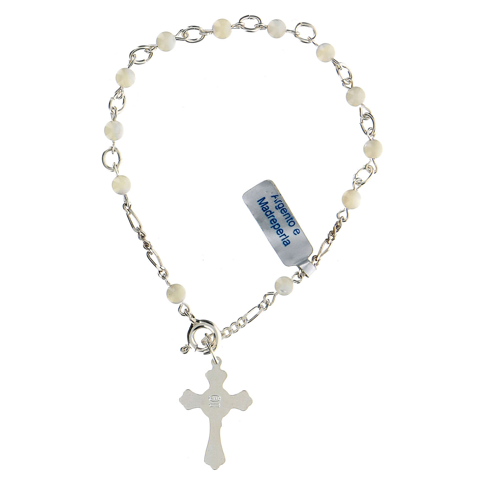 Catholic rosary bracelet in silver and mother of pearl 4