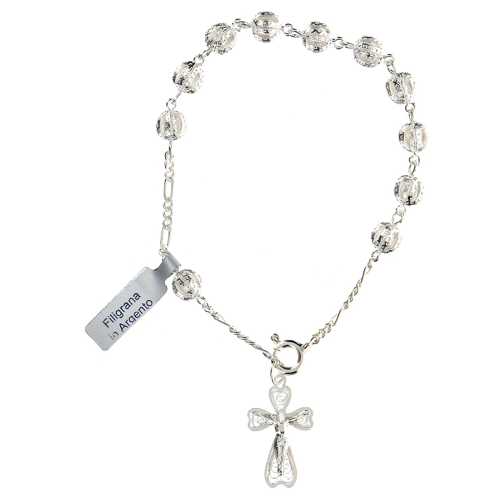 Pulsera decena rosario filigrana de plata 800 4