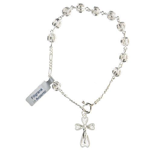 Bracciale decina rosario filigrana in argento 800 1