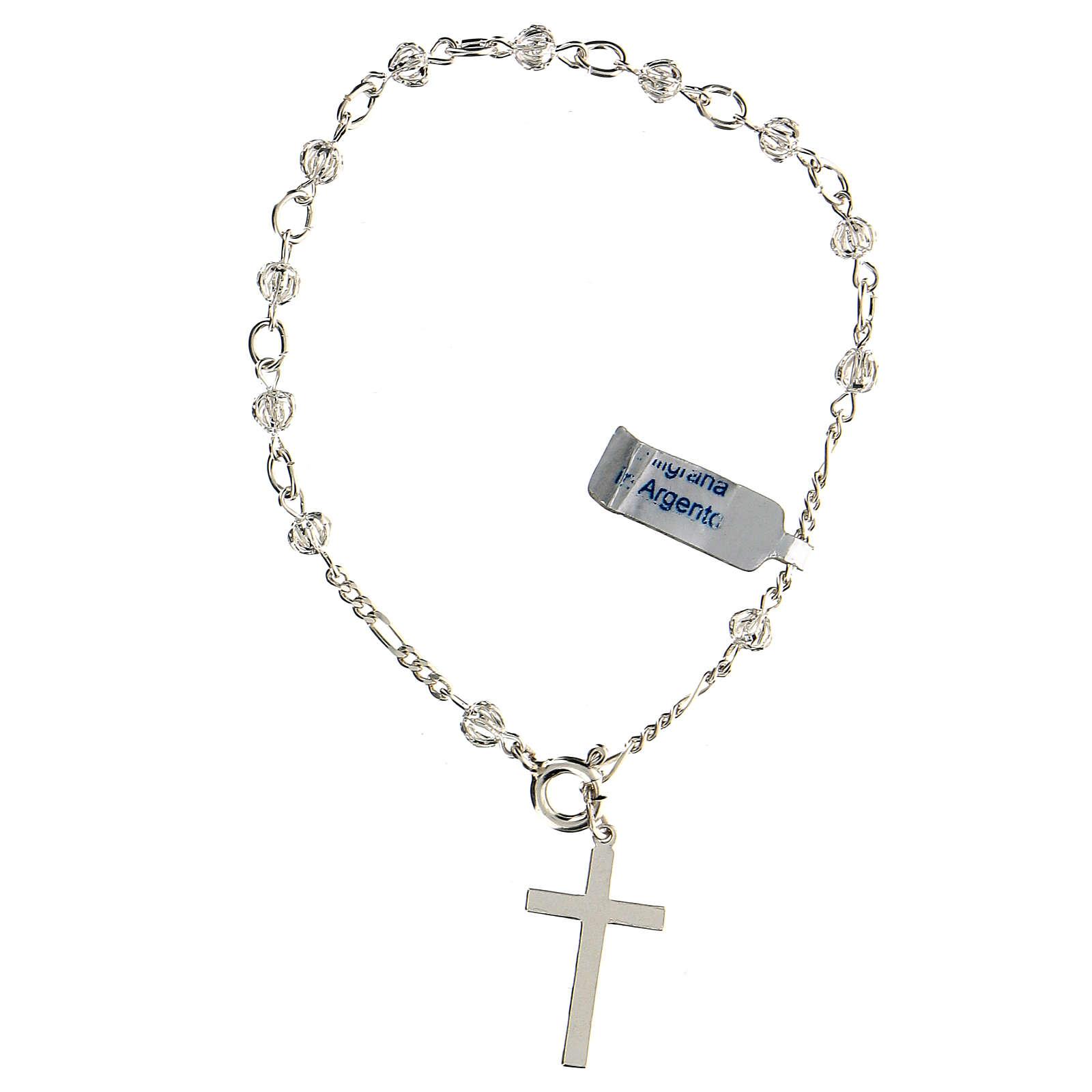 Bracciale rosario decina con filigrana in argento 800 4