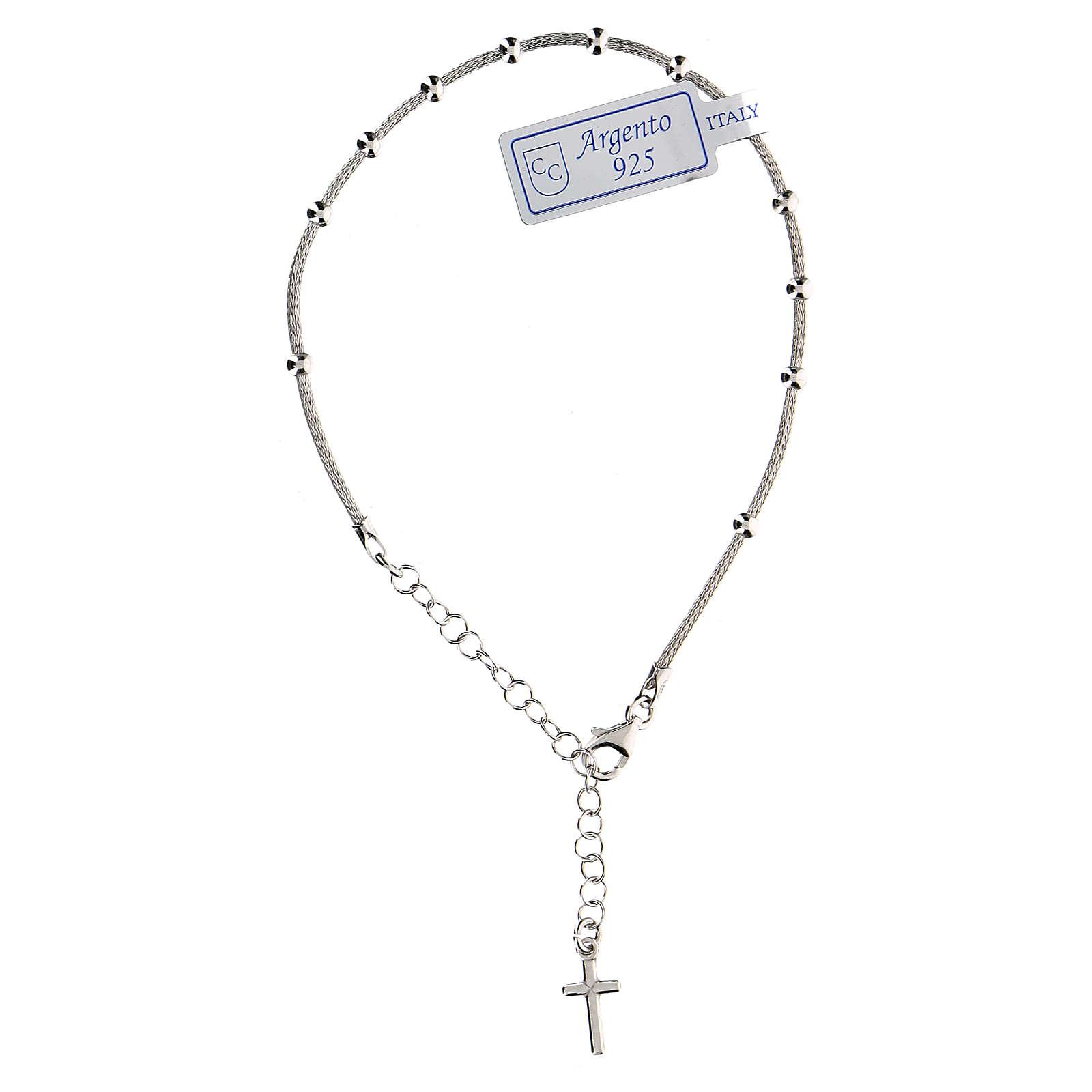 Pulsera decena plata 925 cruz acabado rodio 4