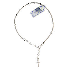 Pulsera decena plata 925 cruz acabado rodio s1