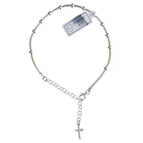 Pulsera decena plata 925 cruz acabado rodio 1