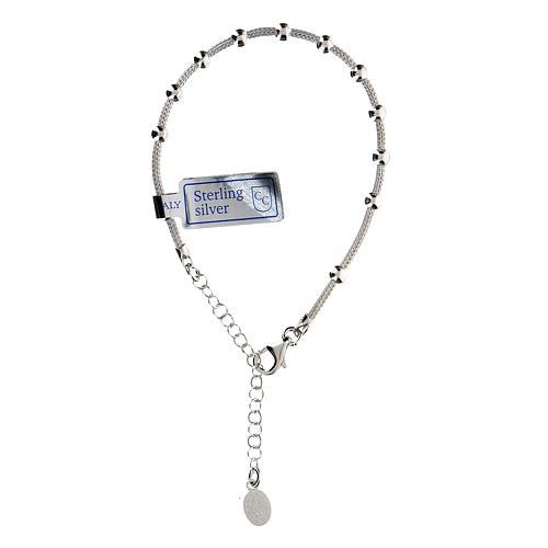 Bracciale decina argento 925 Madonna Miracolosa fin. Rodio 1
