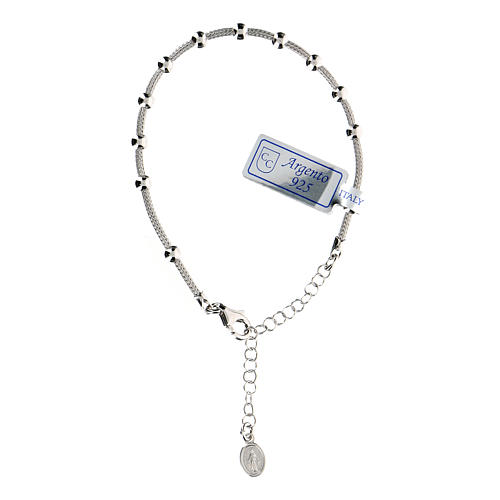 Bracciale decina argento 925 Madonna Miracolosa fin. Rodio 2