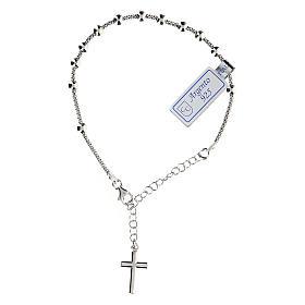 Pulsera decena plata 925 crucifijo acabado Rodio s1