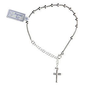 Pulsera decena plata 925 crucifijo acabado Rodio s2