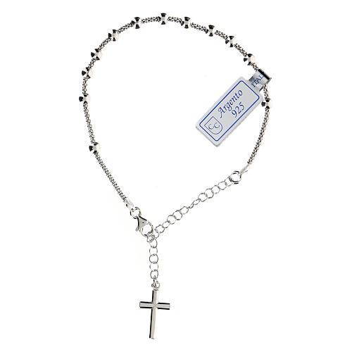 Pulsera decena plata 925 crucifijo acabado Rodio 1