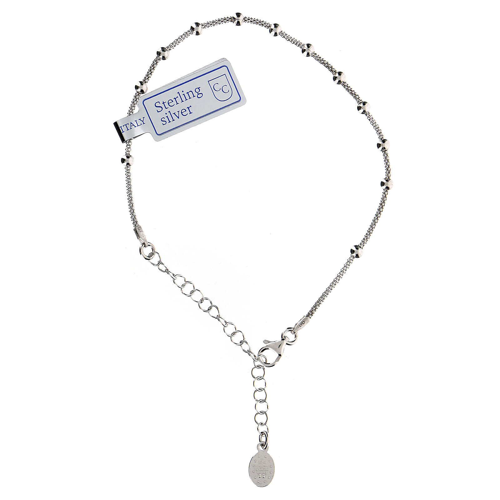 One decade rosary bracelet in sterling silver Mary medal rhodium finish 4