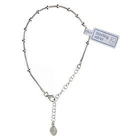 One decade rosary bracelet in sterling silver Mary medal rhodium finish s1