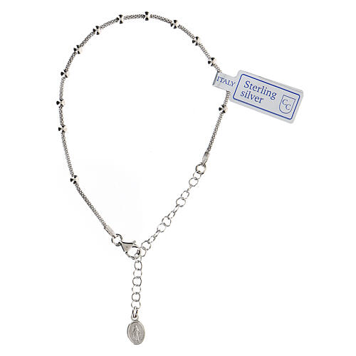 One decade rosary bracelet in sterling silver Mary medal rhodium finish 1